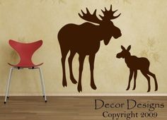 Hey, I found this really awesome Etsy listing at https://www.etsy.com/listing/50141347/moose-wall-decals-mom-with-baby-moose