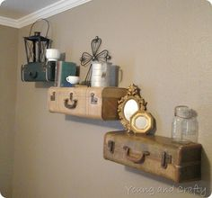 Vintage Suitcase Shelves Tutorial