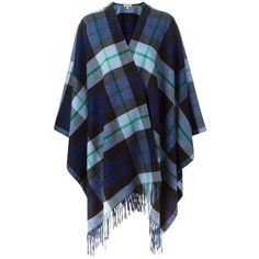 P.A.R.O.S.H. Plaid Poncho Cape ($386) ❤ liked on Polyvore featuring outerwear, cardigans, coats, jackets, tops, blue, poncho cape coat, p.a.r.o.s.h., blue cape and blue cape coat
