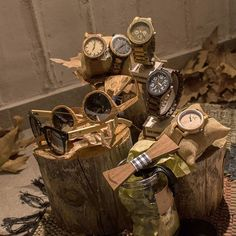 Wooden watches, glasses and bowties.