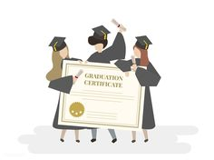 Illustration of graduation certificate Free Vector Scholarships For Girls, Graduation Photos, Graduation Parties, Graduation Gifts, Graduation Invitations, Graduation Stickers, Vector Photo, Free Illustrations, People Illustrations
