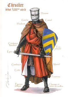 Chevalier du XIII.e siècle (1220). Postal ilustrada por Patrick Dallanégra.