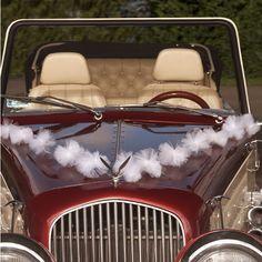 Guirlande deco voiture mariage en tulle pom pom blanc