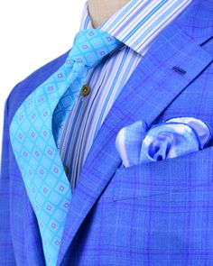 Kiton | Blue with Lavender Plaid Sportcoat | Apparel | Men's
