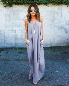 PREORDER ITEM 6/21/16: Grey Stone Preorders are shipping now! Thank you! Our best selling cocoon style maxi is back! The pocketed, adjustable strapped Olivian Maxi is a must for every fashionista's wa