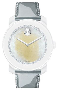 Free shipping and returns on Movado 'Bold' Crystal Dial Patent Strap Watch, 42mm at Nordstrom.com. A glittering trail of multicolored crystals rounds the pristine dial of a Swiss-powered watch set on a shiny patent-leather strap. Movado's signature Museum dot shines at 12 o'clock.