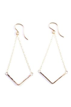 """Gold fill chain and wire earrings with hammer-textured Boomerang Charm. Materials: Gold Fill Measurements, Length: 2 5/8"""" Boomerang, and Width: 1 3/8"""".   Mini Boomerang Earrings  by Wings Hawai'i. Accessories - Jewelry - Earrings Hawaii"""
