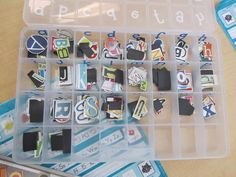 """Great activity for kids who get done early, kids who always ask if you have any jobs that need done, or """"punishments"""" in the art room. Cut out letters from magazines and organize in a bead tray."""