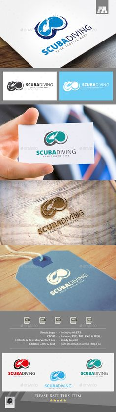 PSD Scuba Diving Logo  Template • Only available here ➝ http://graphicriver.net/item/scuba-diving-logo/16423783?ref=pxcr