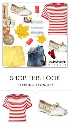 """""""summer vibes"""" by kriz-nambikatt ❤ liked on Polyvore featuring Miss Selfridge, Sperry and stripedshirt"""