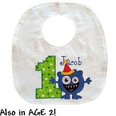 This birthday bib was made for cake eating!  I'm reversible! One side features a large appliqued number 1 or 2 and an adorable hungry birthday monster. Side two is solid blue fabric.  http://luckyskunks.com/birthday-accessories/417-birthday-monster-bib.html
