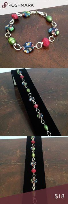 "Handmade Boho Multi-color Bead & Silver Bracelet Handmade bracelet with silver link, red faceted, green baroque glass pearl, multi-color millefiore beads. Lobster clasp. 8"" length. Skylark Vintage Jewelry Bracelets"