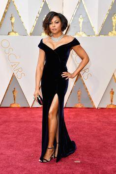 Taraji P Celebrity-inspired Dresses Henson Oscar 2019 Red Carpet Black Velvet Celebrity Dresses The 89th Academy Awards Mermaid Long Celebrity Gown Dress Fast Color