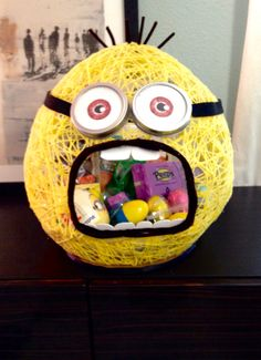 Minion string Easter basket I made for my daughters friends