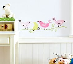 Make the walls pop with kids wall decor and wall hangings for kids from Pottery Barn Kids. Shop wall decals, decorative garlands, and more for adding style to their room. Bird Wall Decals, Animal Wall Decals, Nursery Wall Decals, Wall Art, Bird Theme Nursery, Girl Nursery, Girl Room, Themed Nursery, Bedroom Themes