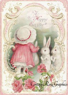 Easter Bunny Gift Tags Vintage Easter Easter by Bluebirdlane Easter Art, Easter Crafts, Easter Bunny, Papel Vintage, Vintage Tags, Vintage Decor, Vintage Teacups, Vintage Greeting Cards, Vintage Postcards