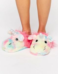 Image 1 ofASOS NEVADA SKY Unicorn Slippers