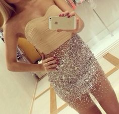 ahh i love this ridiculous sparkly skirt and even the cute yellow tube top