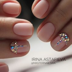 35 Simple Ideas for Wedding Nails Design - Nail Art Swarovski Nails, Crystal Nails, Rhinestone Nails, Simple Wedding Nails, Wedding Nails Design, Nail Wedding, Wedding Manicure, Bling Wedding, Cute Nails