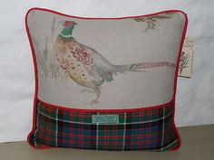 Tartan Pheasant Cushion Cover (Green/Red)