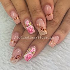 Gel Nail Designs You Should Try Out – Your Beautiful Nails Cute Acrylic Nail Designs, French Nail Designs, Cute Acrylic Nails, Nail Art Designs, Rose Gold Nails, Pink Nails, Fancy Nails, Cute Nails, Nail Art Printer