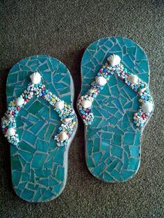 My mosaic concrete flip flop