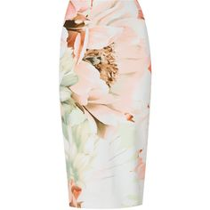 Scuba Floral Pencil Skirt M&S (€13) ❤ liked on Polyvore featuring skirts, bottoms, floral-print pencil skirts, flower print skirt, floral printed skirt, floral skirts and pink floral skirt