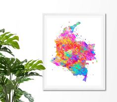 Colombia Watercolor Map 3 Art Print Poster Wall Art by ZuzisStudio