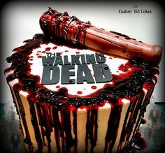 The Walking Dead Cake  Bloody good time making this cake! http://www.customkidcakes.com/single-post/2016/09/06/The-Walking-Dead-Cake