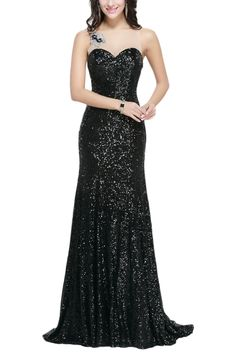 SDRESS Women's Crystals Sequins Illusion Crewneck Sweep Train Mermaid Prom Dress Black Size 16. Shinning sequins fabric; Dry clean only. Illusion crew neck with sleeveless. Embellished with beads, crystals, sequines. Sheer back, Mermaid sweep train style. Made-to-order product, you can receive it in 2 weeks if u choose expedited shipping.