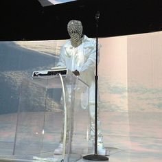 Kanye West Wore A Couple Weird Masks Last Night- Crystal mask.