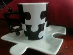 Bella Casa Folk Art Interlocking Jigsaw Puzzle Coffee Soup Mug Cup & Plate Blue