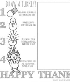 Keep kids busy at the Thanksgiving table with this draw-a turkey art project. Half art lesson/half coloring page, this Thanksgiving Placemat can also be used in the classroom.