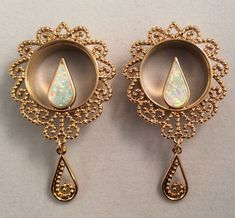 New gold plated copper synthetic opal dangle tunnels plugs guages ear expanders