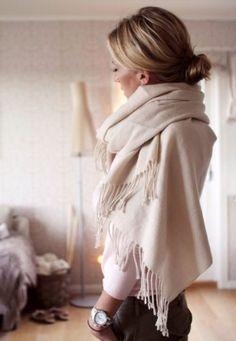 cream oversize scarf similar to http://www.likemary.com/Kasa-Merino-Shawl-Oversize-Scarf/dp/B00F4V82B4