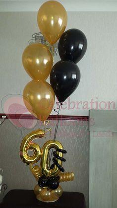 Balloon Centrepiece from www. Birthday Centerpieces, Balloon Centerpieces, Balloon Decorations Party, 60th Birthday Decorations, Masquerade Centerpieces, Balloon Ideas, Wedding Centerpieces, 60th Birthday Balloons, 70th Birthday Parties