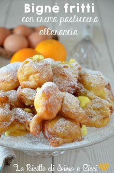 Bignè fritti con crema pasticcera all'arancia