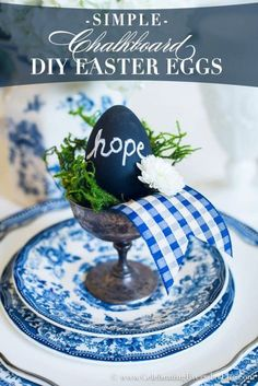 Check out this cute #Easter decor idea with chalkboard eggs. Love it! #HomeDecorIdeas @istandarddesign