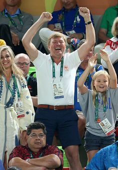 Queen Maxima of the Netherlands and King Willem-Alexander of the Netherlands with their youngest daughter Princess Ariane celebrate the gold medal of Sanne Wevers of the Netherlands at the Women's Balance Beam on day 10 of the Rio 2016 Olympic Games on August 15, 2016 in Rio de Janeiro, Brazil.