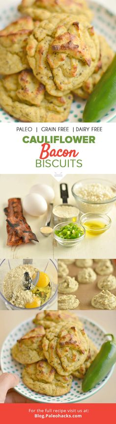Filled with garlicky, spicy flavor, these cauliflower bacon biscuits are Paleo and gluten-free. Try to resist having more than one . . . we dare you!