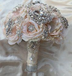 PINK BROOCH BOUQUET Deposit for this Bridal by Elegantweddingdecor