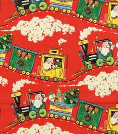 Holiday Inspirations Christmas Fabric Vintage Santa Train