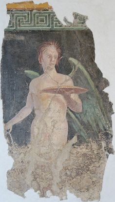 Louvre P23. Winged genius, fragment. Second-style mural painting, Roman artwork, late 1st century BC. From the peristyle of the villa of P. Fannius Synistor in Boscoreale, near Pompeii.