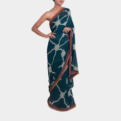 Bottle green gorgette saree  #india #indian #designer #sari #modern #contemporary #party #colorful