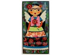 He encontrado este interesante anuncio de Etsy en https://www.etsy.com/es/listing/155630946/frida-kahlo-angel-with-red-flower-5-x-10