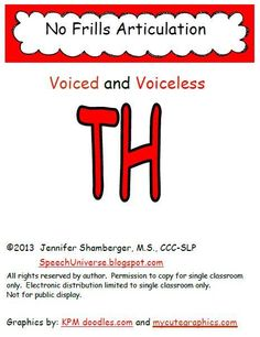 Speech Universe: No Frills Articulation For TH. Pinned by SOS Inc. Resources. Follow all our boards at pinterest.com/sostherapy for therapy resources.