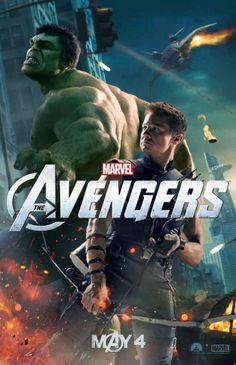 Movie poster The Avengers. Hulk and Hawkeye