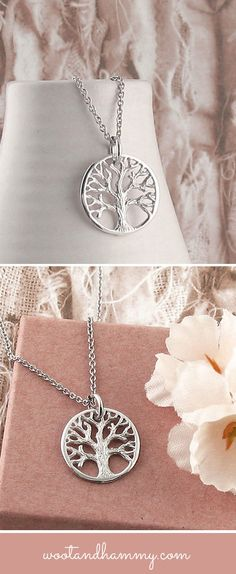 tiny tree of life necklace in sterling silver.