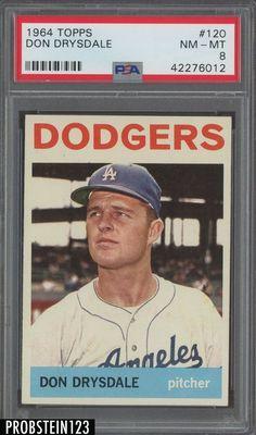1964 Topps #120 Don Drysdale Dodgers HOF PSA 8 NM-MT Dodgers Baseball, Baseball Gear, Baseball Photos, Sports Baseball, Don Drysdale, Baseball Bases, Baseball Cards For Sale, Old Ads, Los Angeles Dodgers
