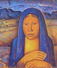 Painting by Alfredo Ramos Martinez (1871-1946), ca. 1930, La India del Pueblito. (detail)